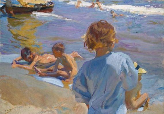 Joaquin Sorolla y Bastida - Niños En La Playa,... on MutualArt.com