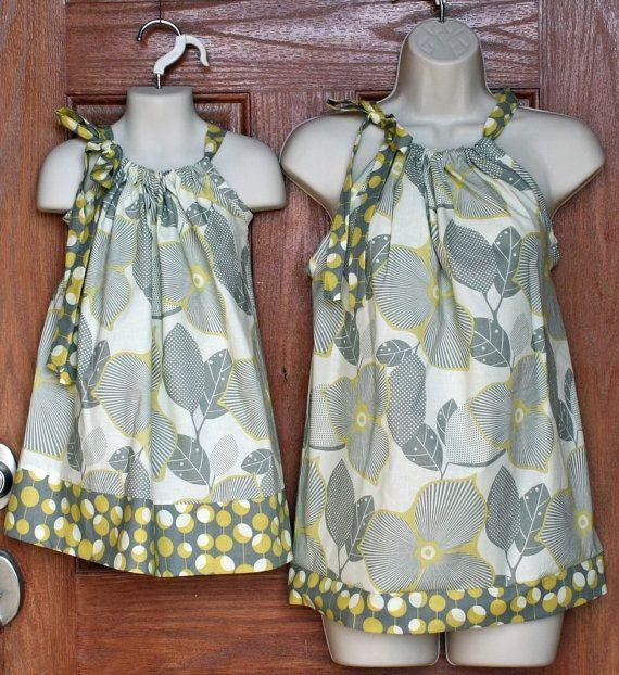 Matching mother-daughter top  dress. Too cute!!