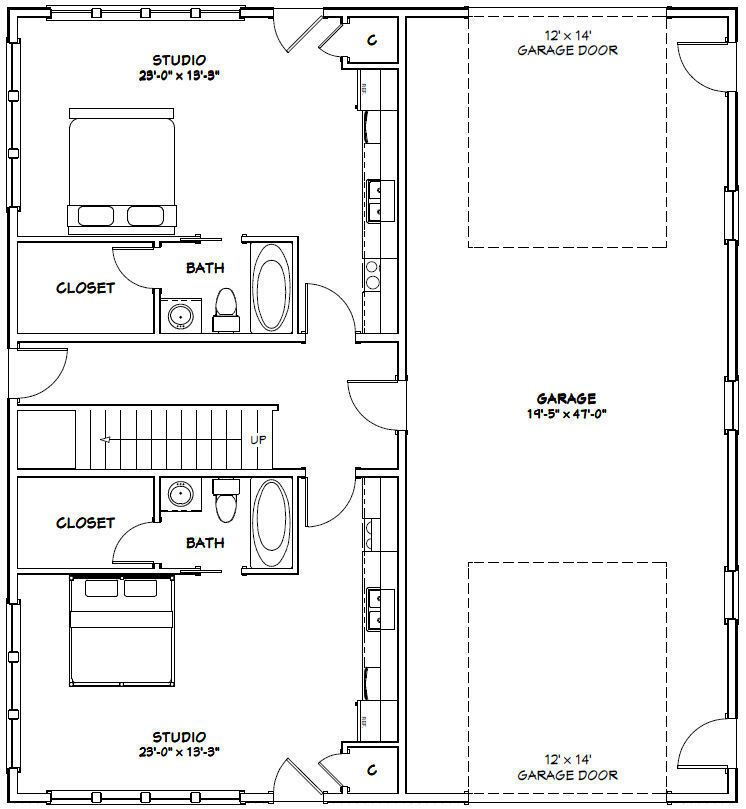 44x48 4 Plex With 1 Rv Garage Pdf Floorplan 2 230 Sqft Model 4c Ebay Floor Plans Loft Plan Gable Roof Design