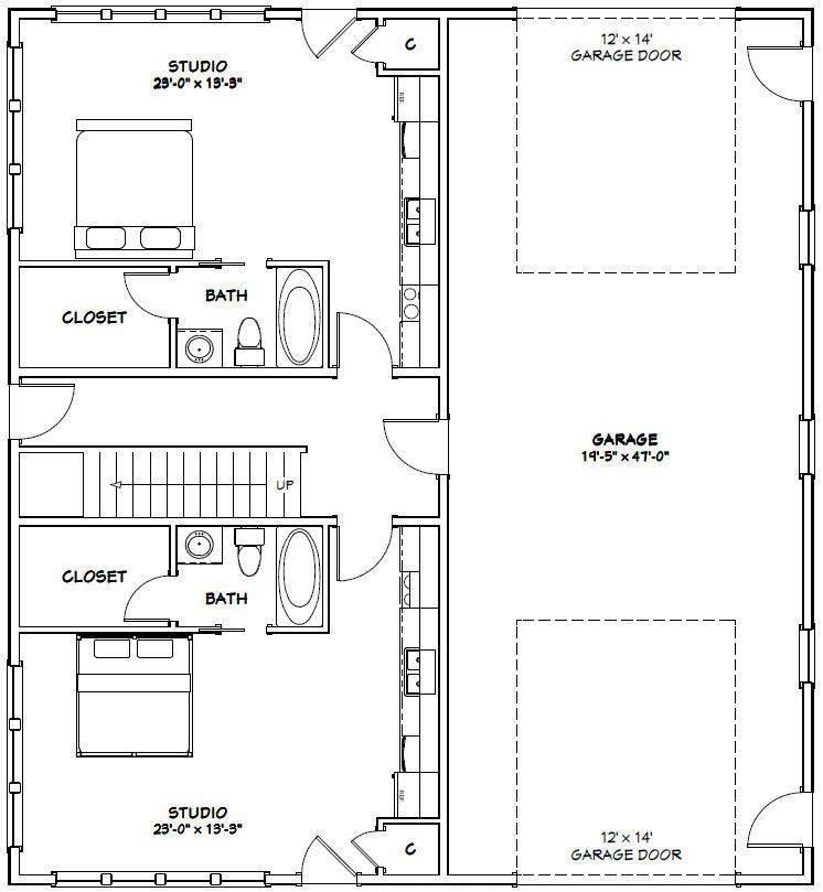 44x48 4 Plex With 1 Rv Garage Pdf Floorplan 2 230 Sqft Model