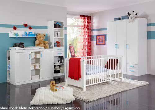 Babyzimmer weiß hochglanz  Babyzimmer 3-tlg. in Hochglanz Weiß mit Griffen in Türkis u ...