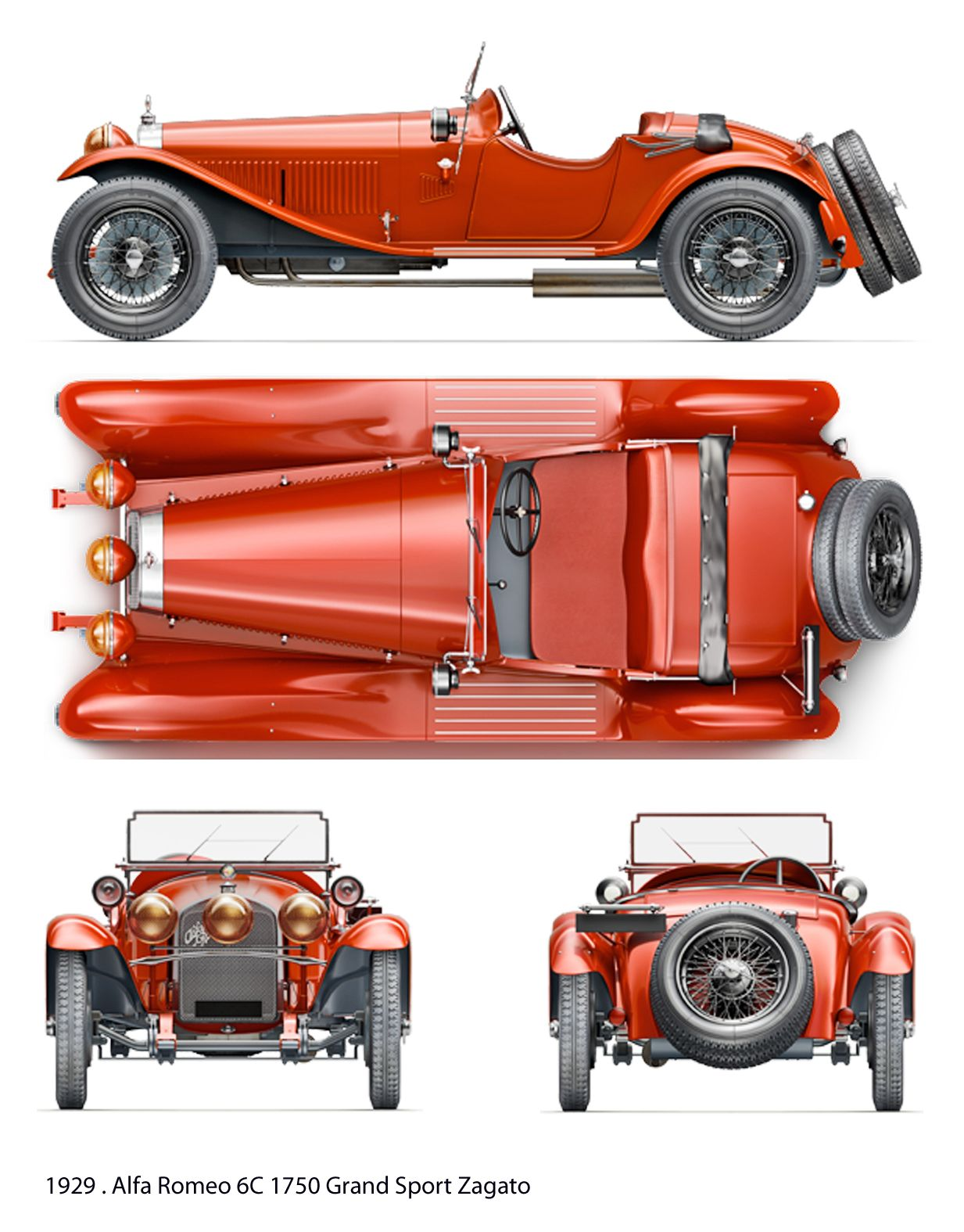 Alfa Romeo 6C 1750 GS Zagato (1929) | SMCars.Net - Car Blueprints ...