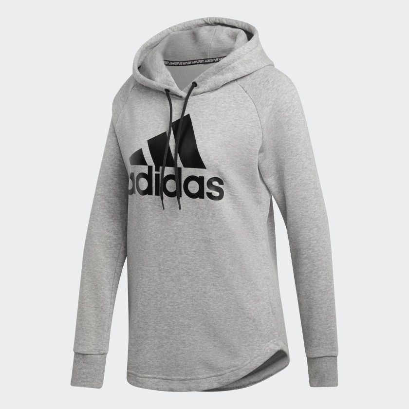 Must Haves Badge of Sport Hoodie Medium Grey Heather / Black ...