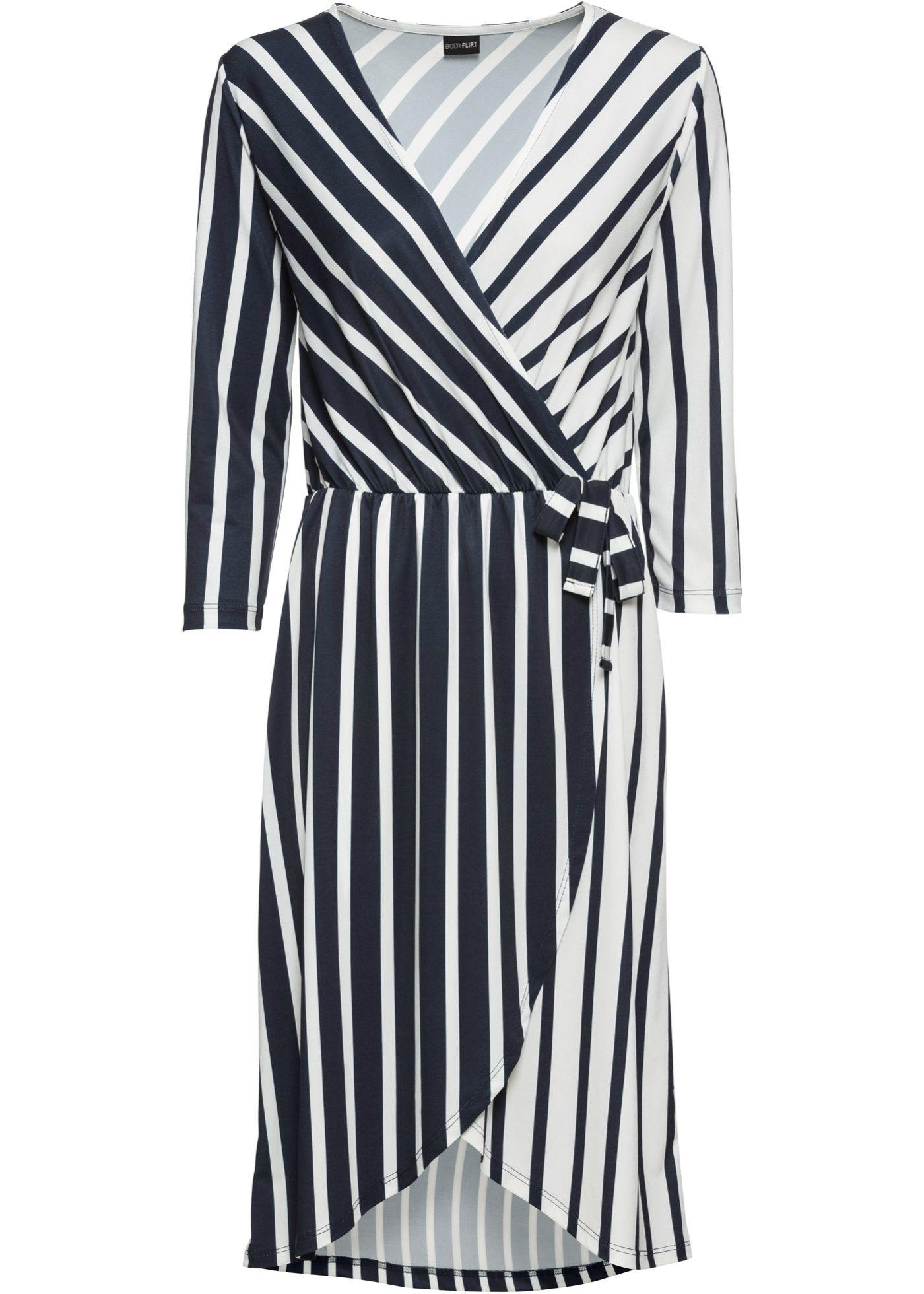 Kleid in Wickeloptik mit abgerundeten Kanten - dunkelblau/weiß