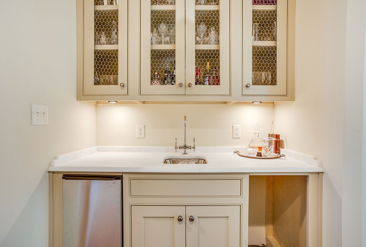 Mystery White Honed Marble Countertop Butleru0027s Pantry Bar