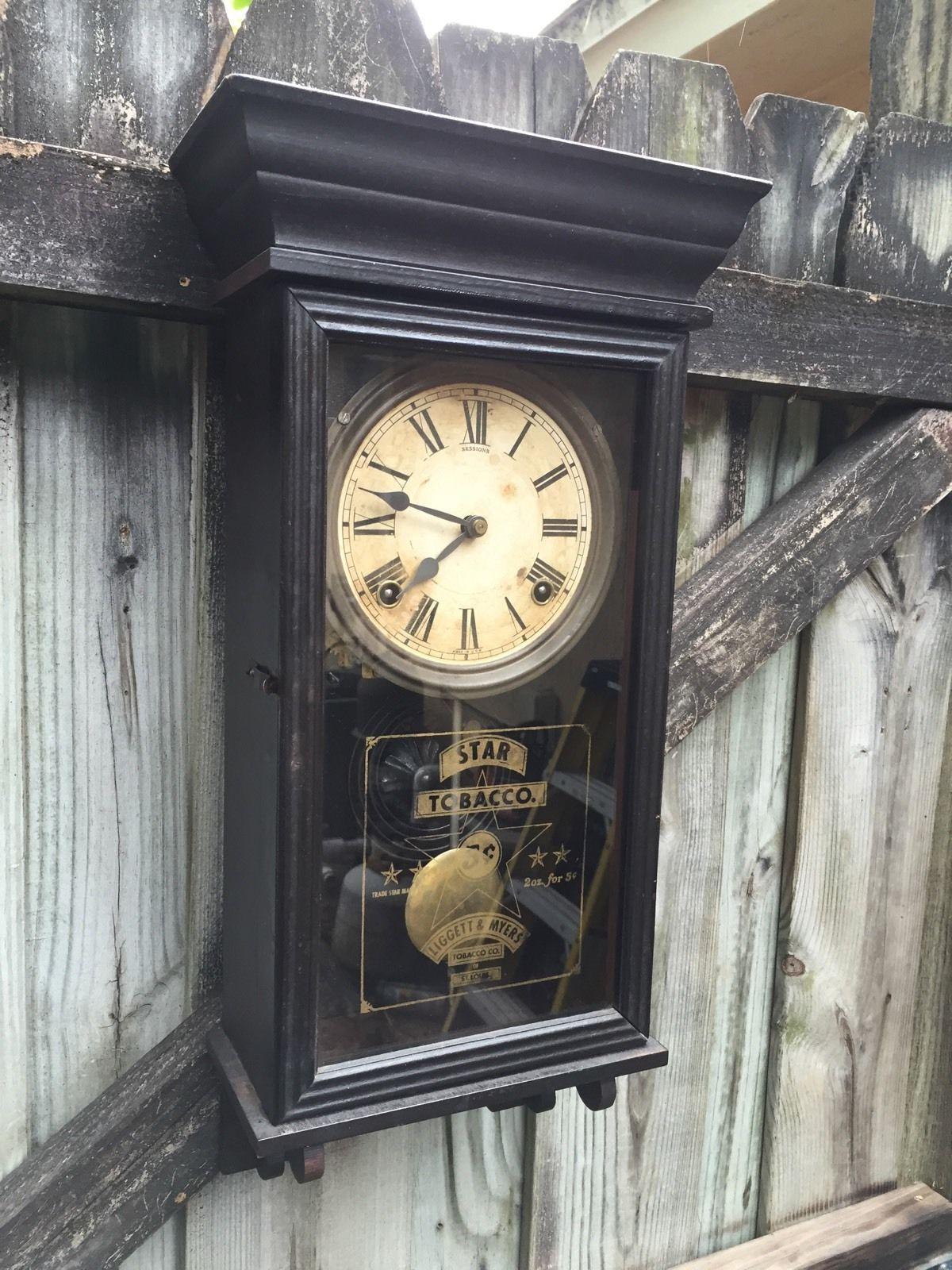 Star Tobacco Antique Miniature Regulator Wall Clock By Sessions Clock Antiques Wall Clock
