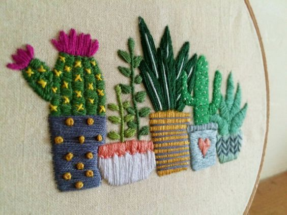 Cactus embroidery hoop art succulents by