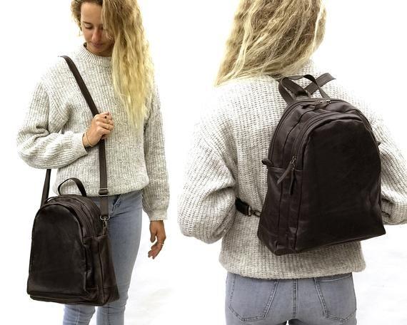 Convertible Leather Backpack Crossbody Convertible Backpack Purse Dark brown Shoulder Bag Hobo Handbag bag Handmade with love