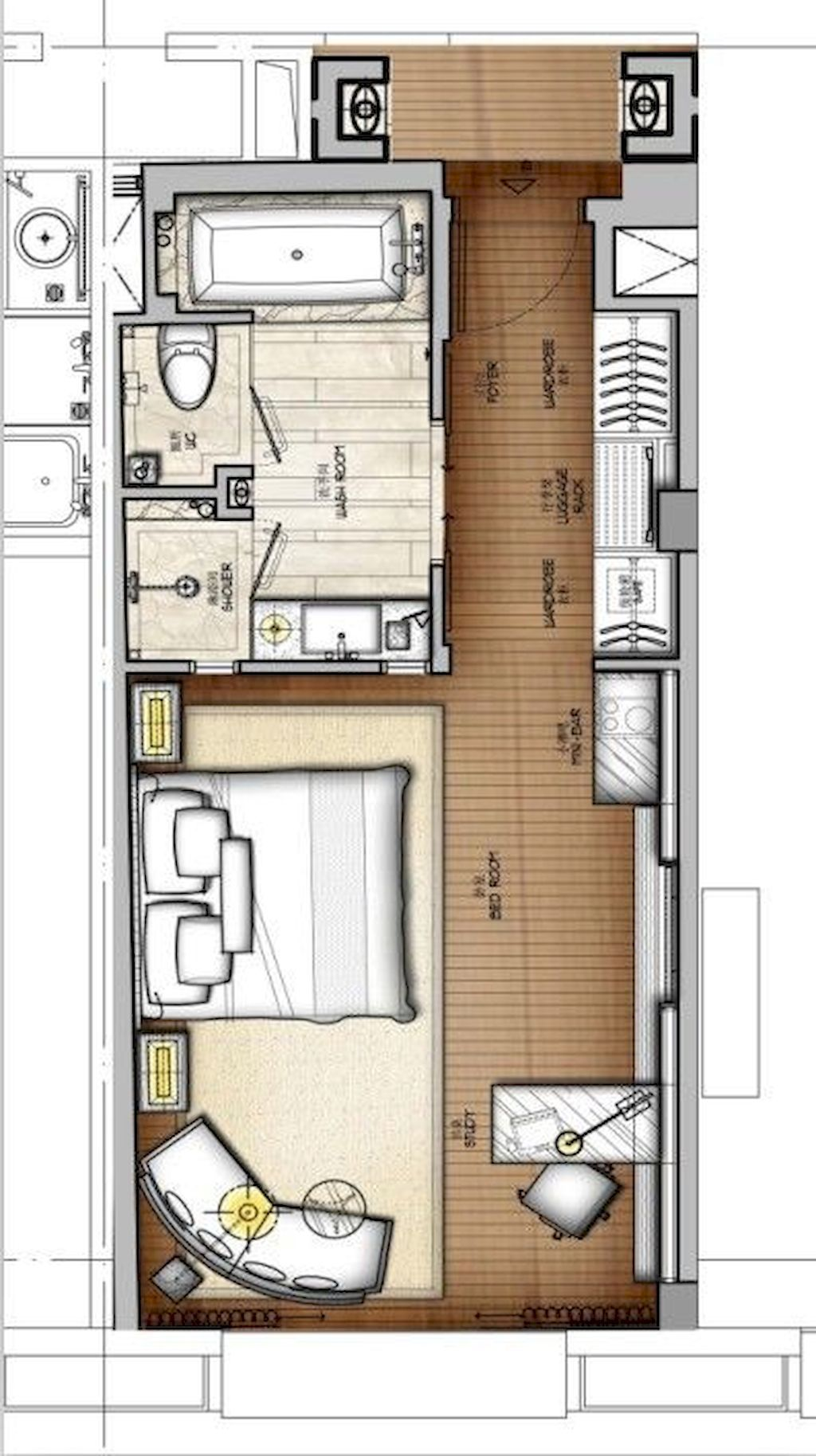 Small Studio Apartment Layout Design Ideas 3 Home Design Hotel Floor Plan Hotel Room Design Hotel Room Plan
