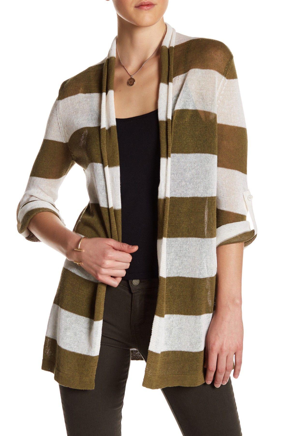 Stripe Linen Blend Knit Cardigan by Kier & J on @nordstrom_rack