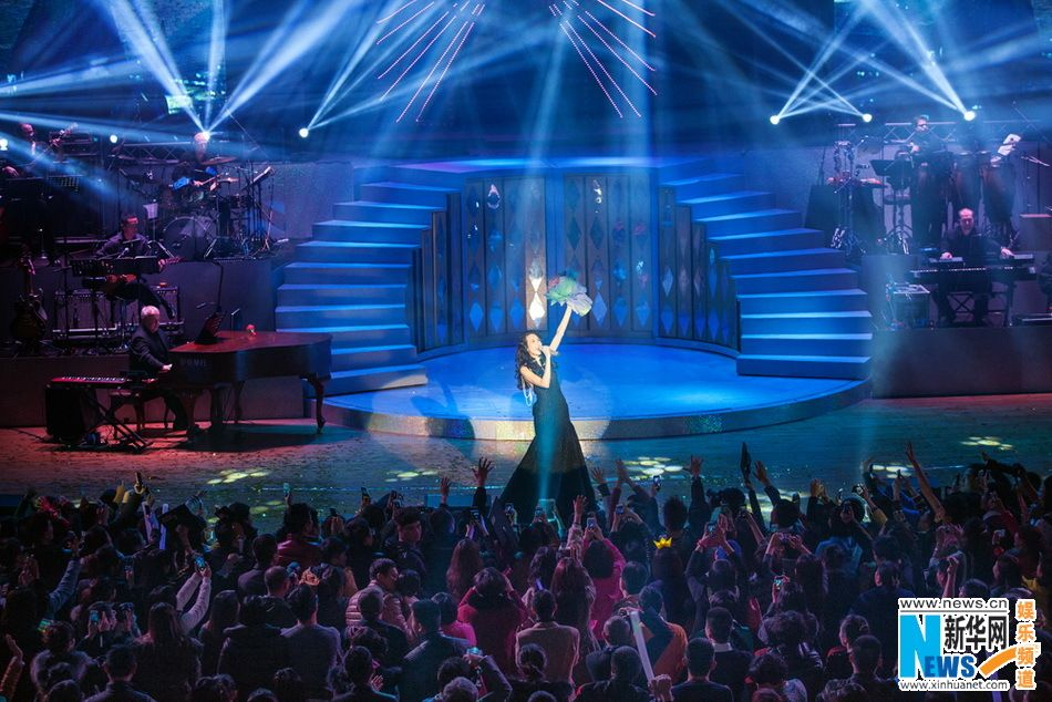 "Singer Karen Mok performs her first jazz album ""Somewhere I Belong"" at her 20th anniversary concert tour in Chongqing, China"