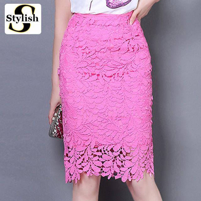 8889721aec Falda de encaje elegante Women Summer 2016 estilo coreano de cintura alta faldas  lápiz atractiva ahueca hacia fuera para mujer de la oficina ropa para mujer
