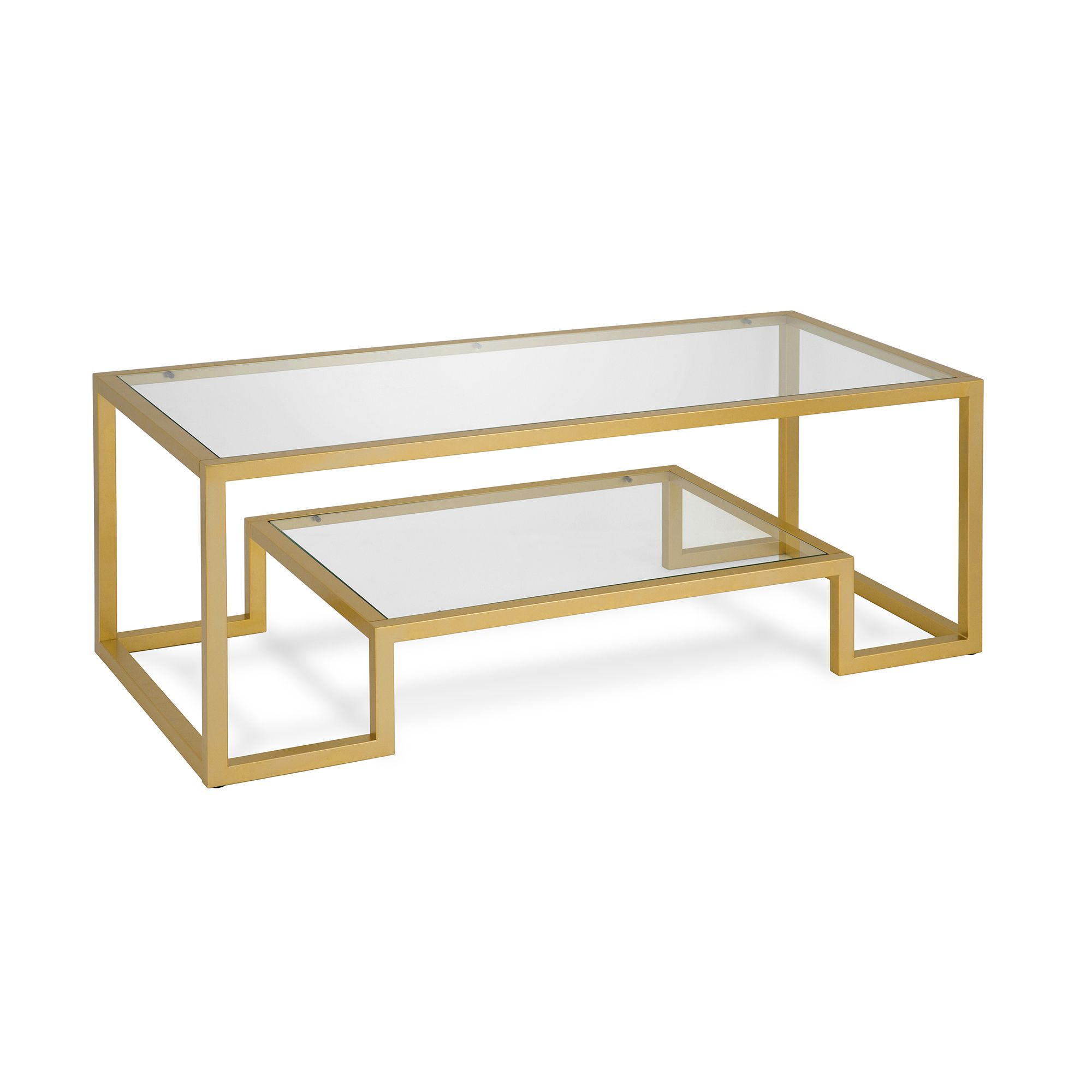 Evelyn Zoe Contemporary Coffee Table With Glass Top And Shelf Walmart Com In 2021 Gold Glass Coffee Table Geometric Coffee Table Coffee Table