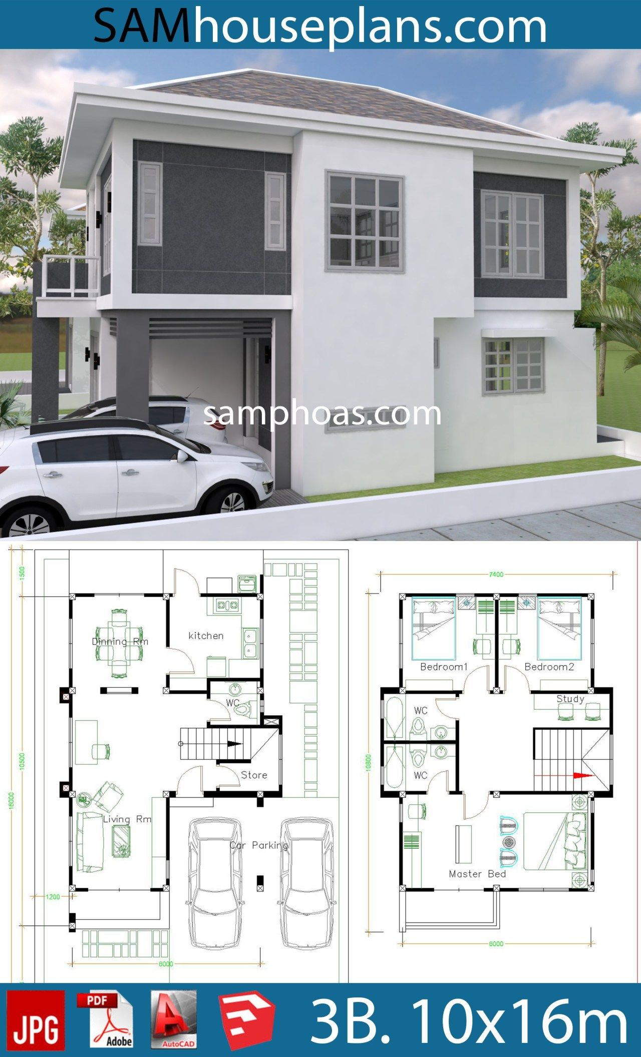 House Plans 10x16m With 3 Bedrooms Sam House Plans House Plans House Layout Plans Architectural Design House Plans