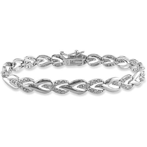 1 Carat T W Diamond Sterling Silver Tennis Bracelet 7 Sterling Bracelets Silver Link Bracelet Silver Bracelets For Women