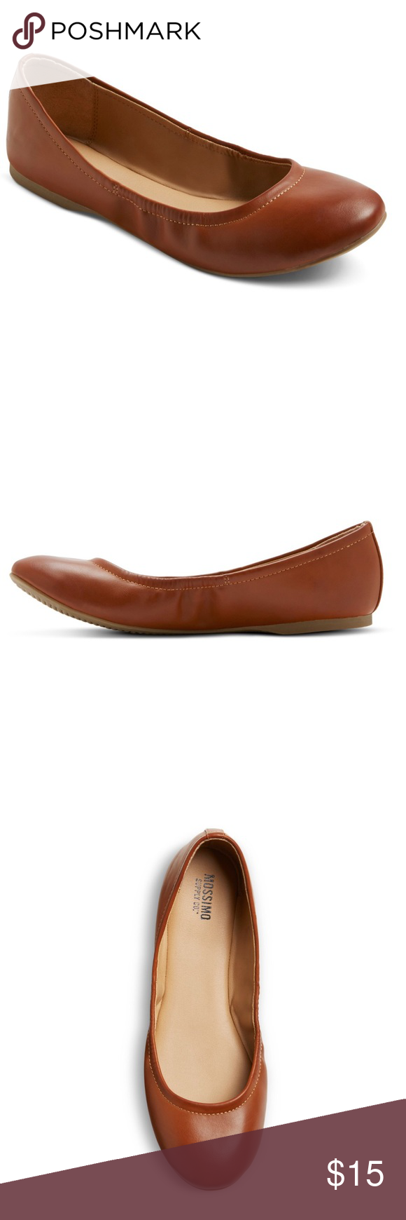 b18c1136ee10 WOMEN s Ona wide width ballet flats Mossimo Cognac Round-toed ballet flat  Luxe faux leather upper Convenient slip-on styling Cushioned insole