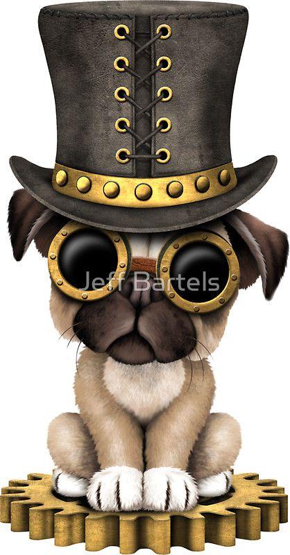 7d2f7ffa541 Cute Steampunk Pug Puppy Dog  Art Print by jeff bartels