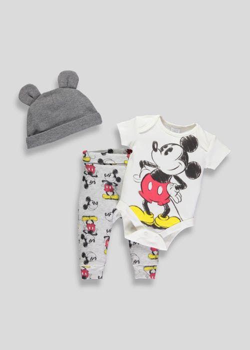 6aa968d9e392 Unisex Disney Mickey Mouse 3 Piece Set (Newborn-12mths)