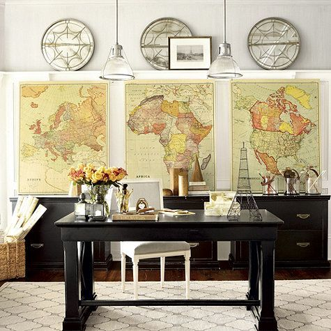 map decor | Suzanne Kasler Vintage World Maps Home Decor Office Decor - Stylehive