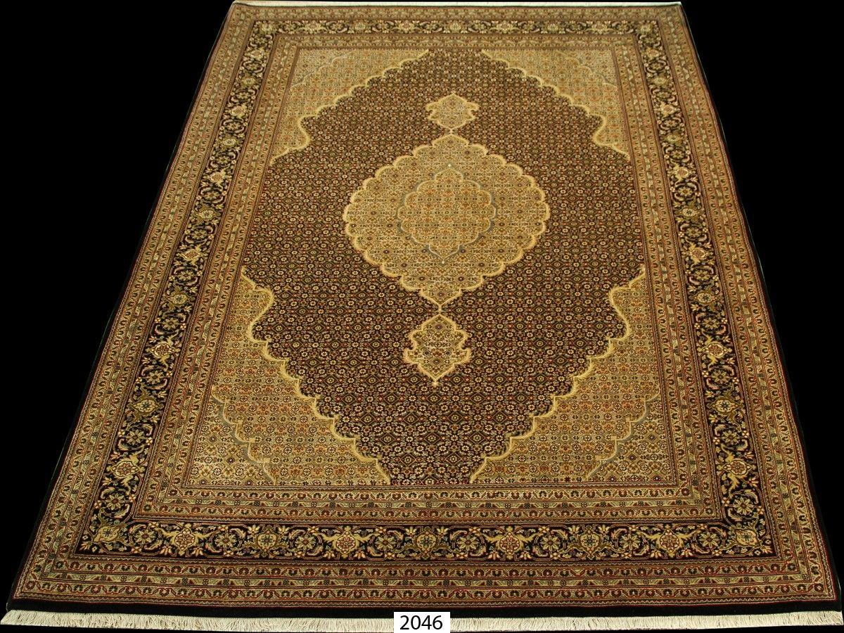 Fine Wool And Silk Tabriz Mahi Persian Rug For Leon Norell Ltd