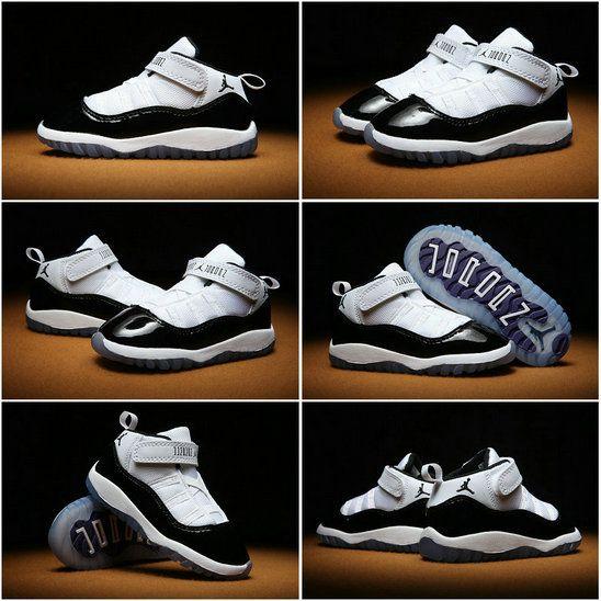 4a8e1287048ccf Youth New 2018 Air Jordan 11 XI Kids Concord White Black ...