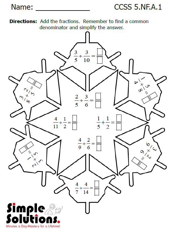 keep your kids 39 math skills sharp over winter break with this fun snowflake activity from simple. Black Bedroom Furniture Sets. Home Design Ideas