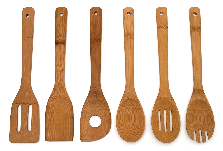 Bamboo 6 Piece Cooking Utensil Set Kitchen Wooden Spoon Spatula ...