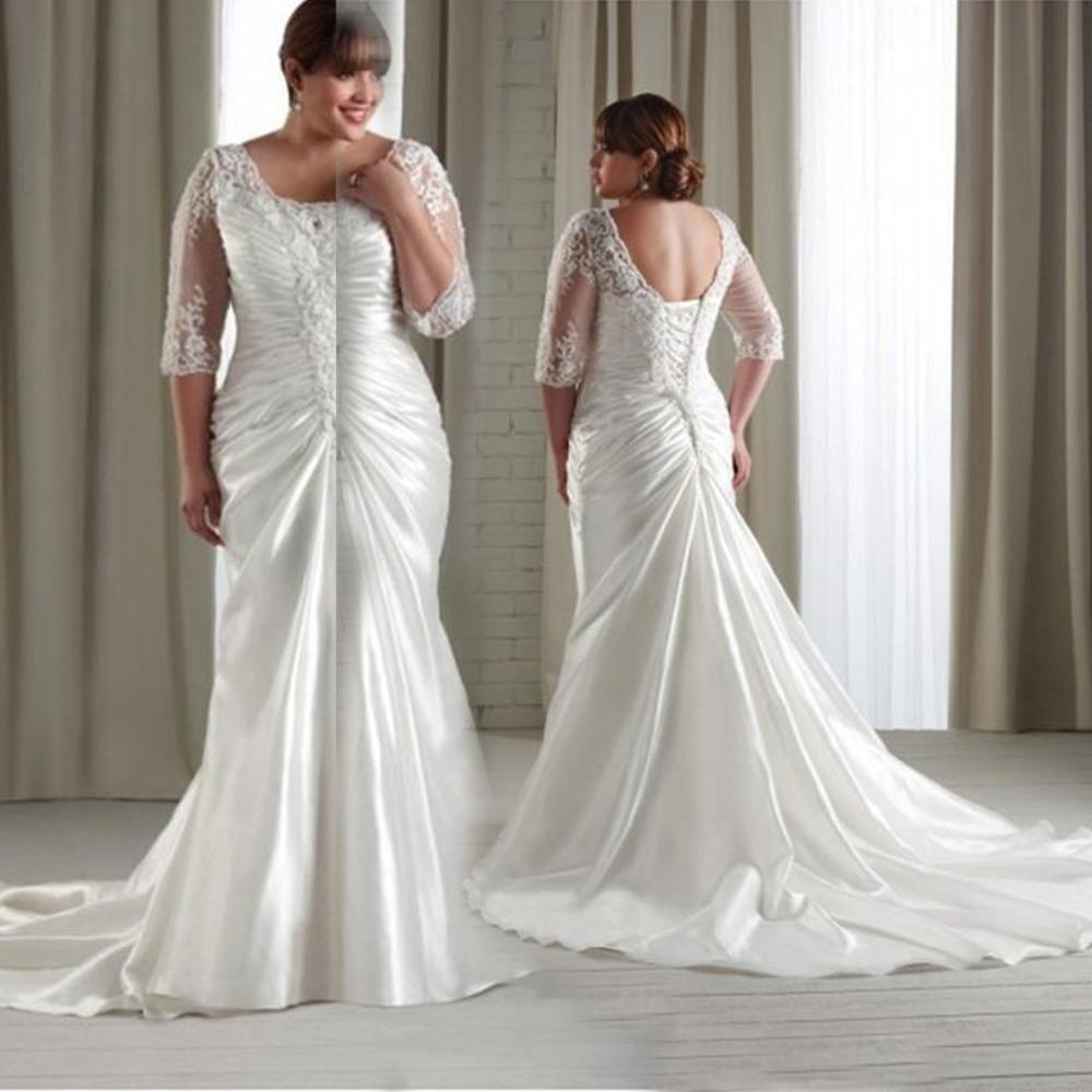 2016 new plus size mermaid wedding dresses sleeves