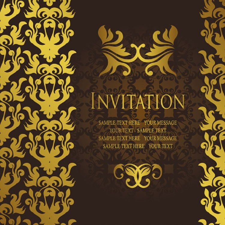 Gold Birthday Invitation Card Vector Free Business Cards Templates Resume