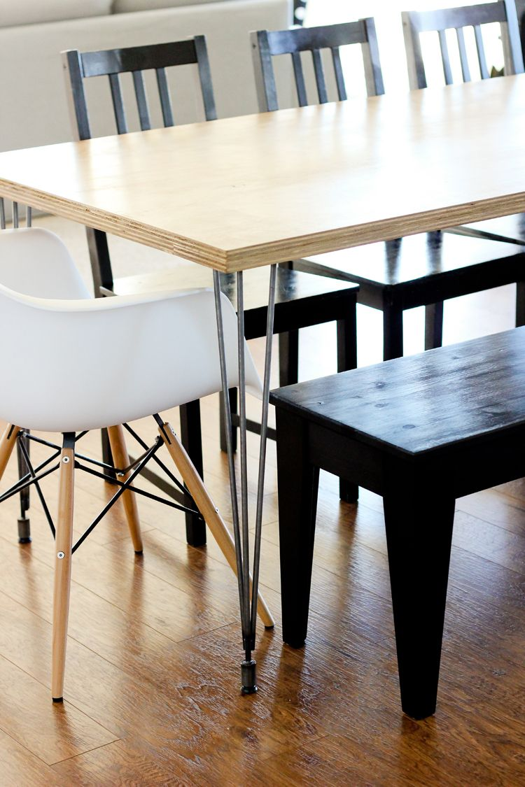 Plywood Hair Pin Leg Dining Table Casual Kitchen Table Diy