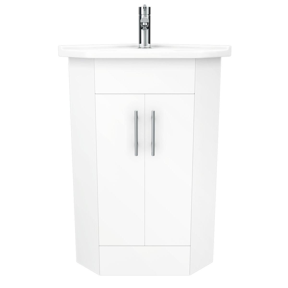 Alaska Corner Cabinet Vanity Unit (High Gloss White) | White corner ...