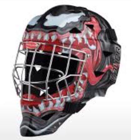 Venom Black Spider Man Themed Helmet Helmet Design Goalie Pads Goalie Mask