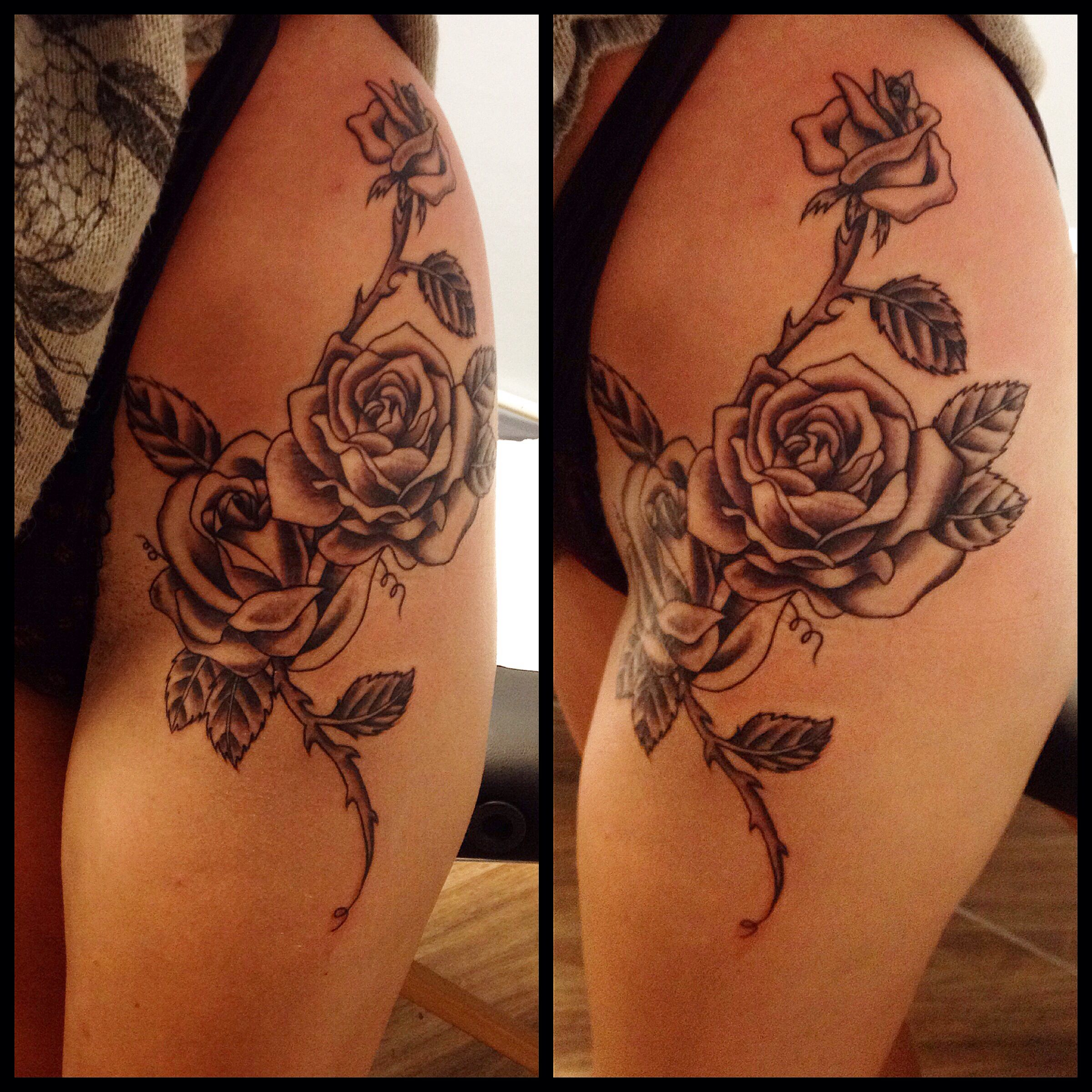 Traditional rose thigh tattoo by sammy tatu pinterest for Tattoo rose on thigh