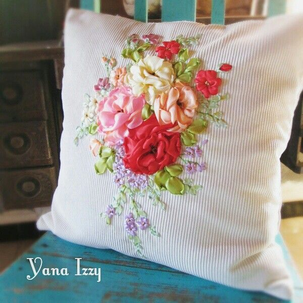 Ribbon embroidery cushion cover my
