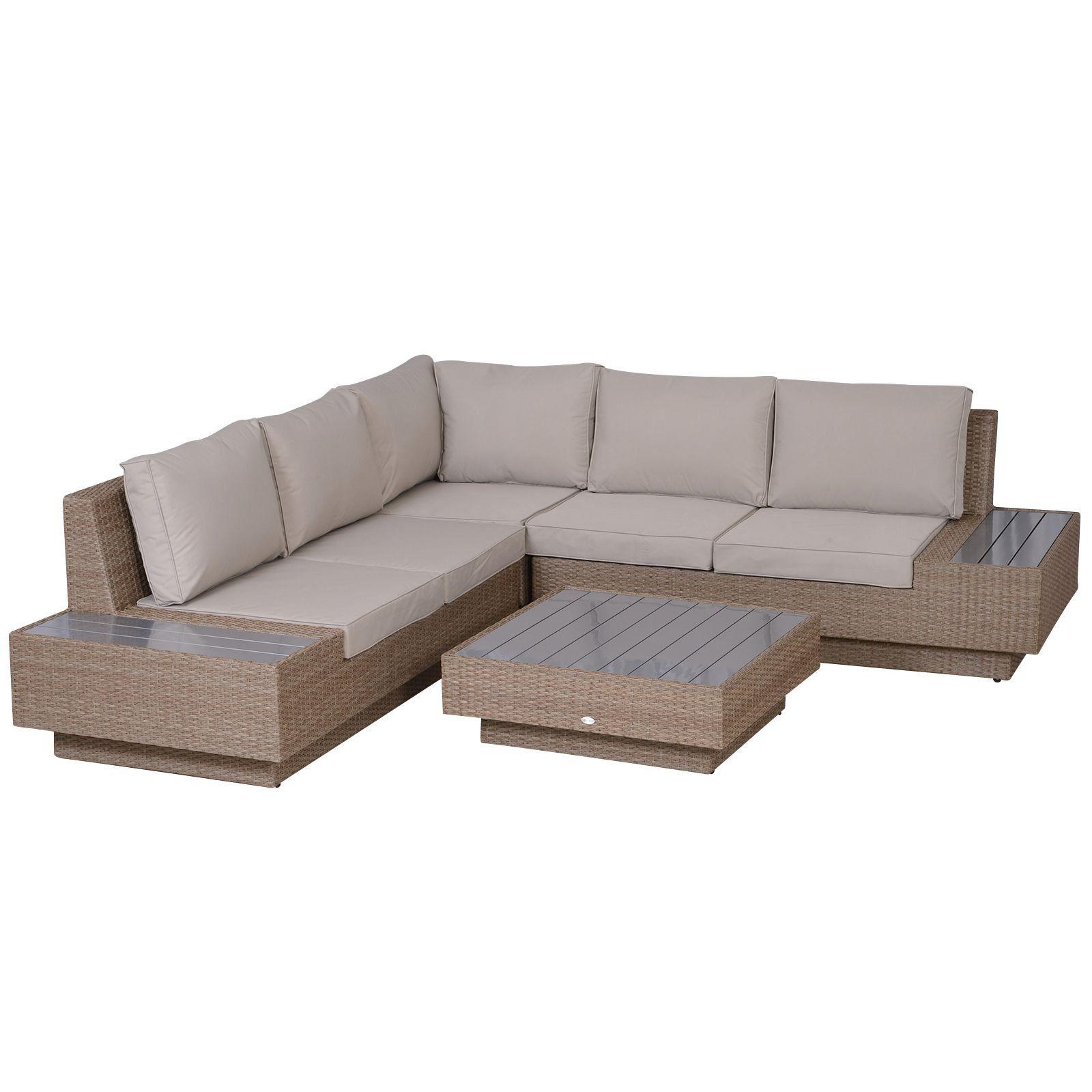 Outsunny 4 Pcs Rattan Sofa Furniture Set W Cushions Beige Aosom Uk 1000 In 2020 Corner Sofa Outdoor Sofa Furniture Rattan Garden Furniture Sets