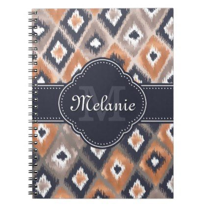 Rose Gold Pink Ikat Pattern Navy Monogram Notebook  Pattern