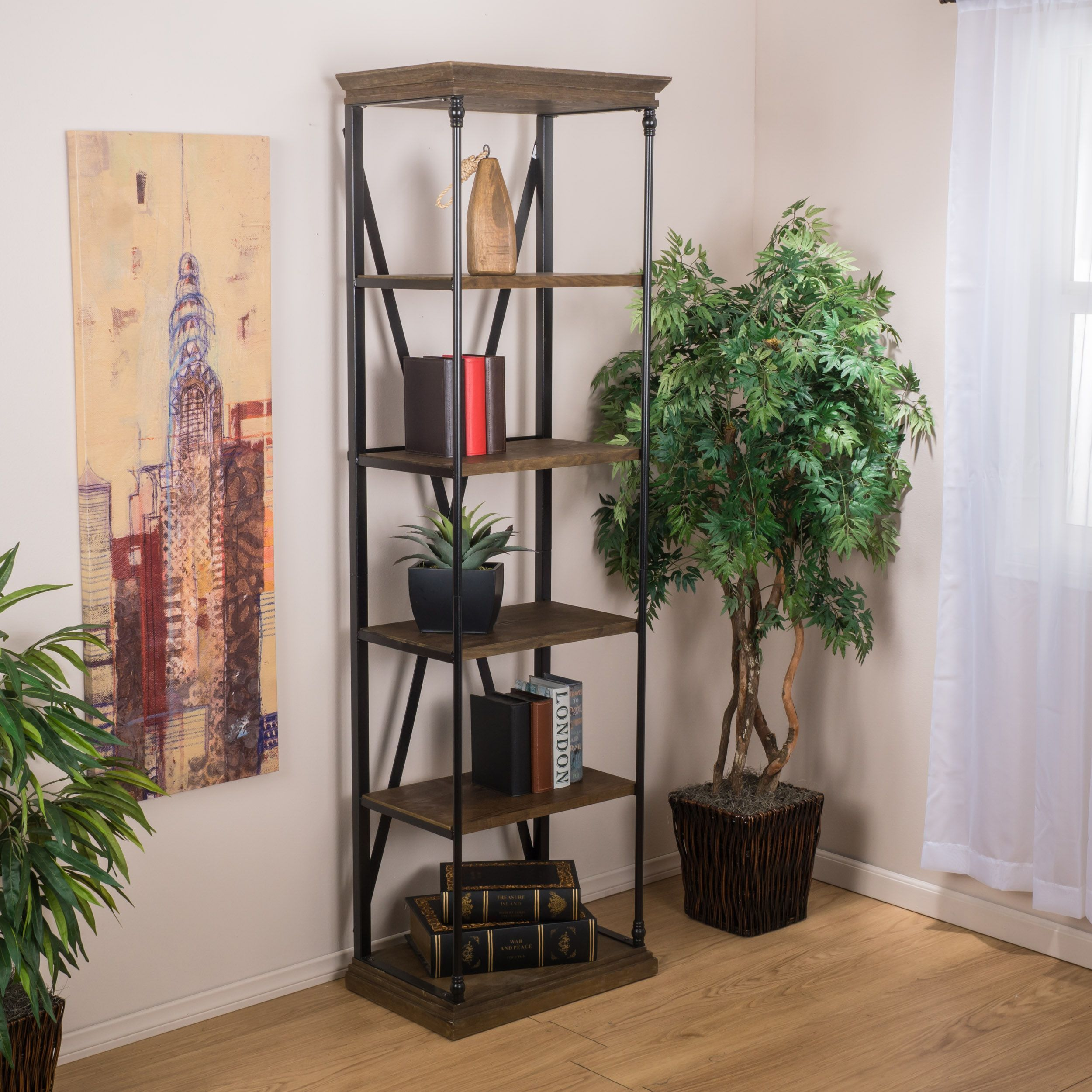 The Appleton Bookcase Is Built In The Classic Industrial Furniture Look.  Built From Wood And