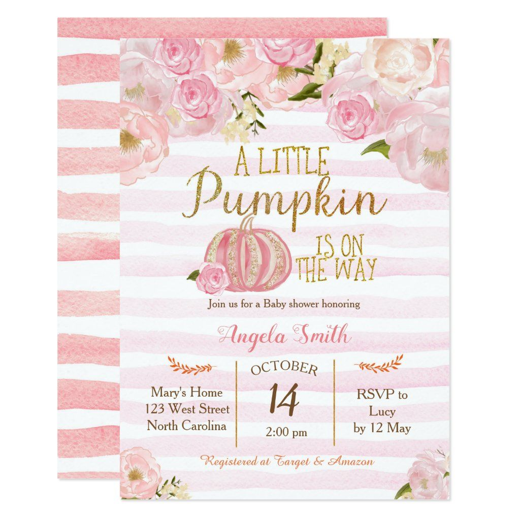 Gold and Pink Pumpkin Baby Shower Invitation