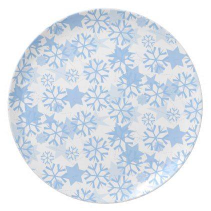 Holiday Plastic Plate-Blue Stars \u0026 Snowflakes Melamine Plate - Xmas ChristmasEve Christmas Eve Christmas  sc 1 st  Pinterest & Holiday Plastic Plate-Blue Stars \u0026 Snowflakes Melamine Plate - Xmas ...