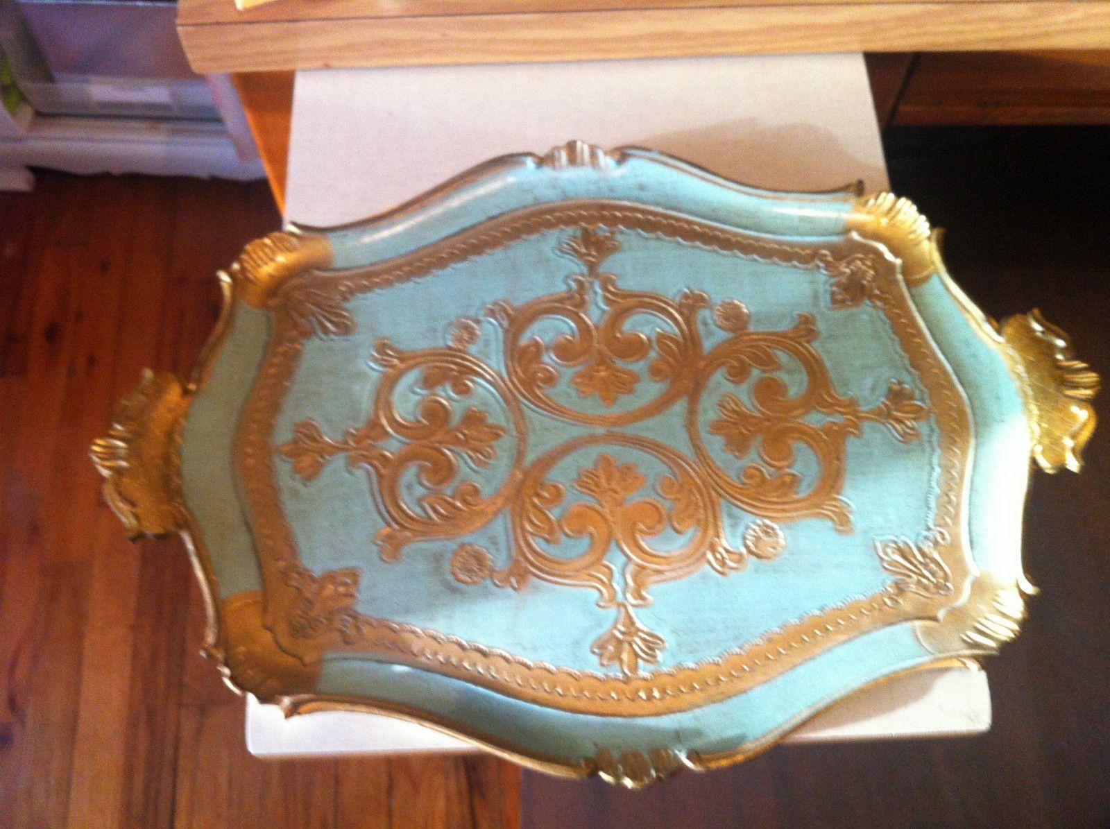 Vintage Italian Florentine Gilt Wood Tray Paint