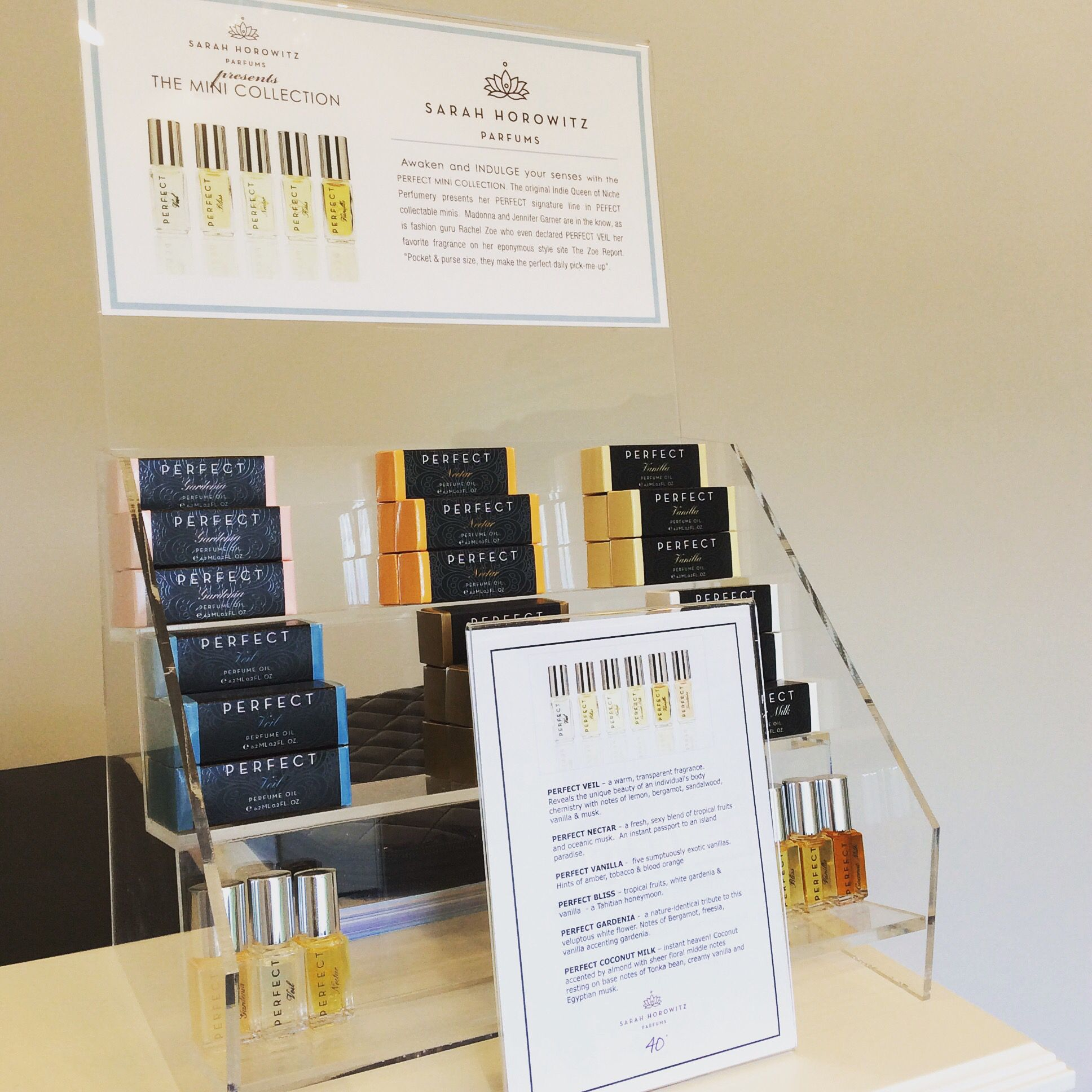 Featuring Sarah Horowitz perfume oils.  Captivating yet subtle and lasts all day/night.  Perfect.
