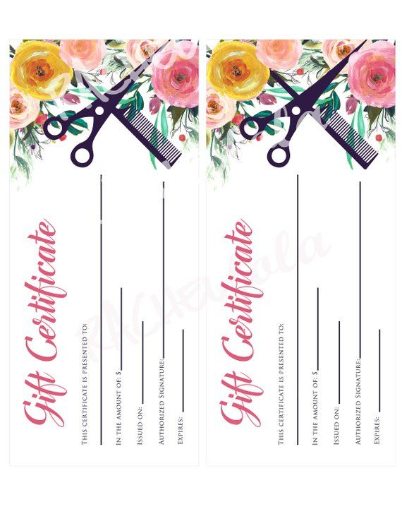 Hair Salon Watercolor Fl Printable Gift Certificate Template Spring Stylist Voucher