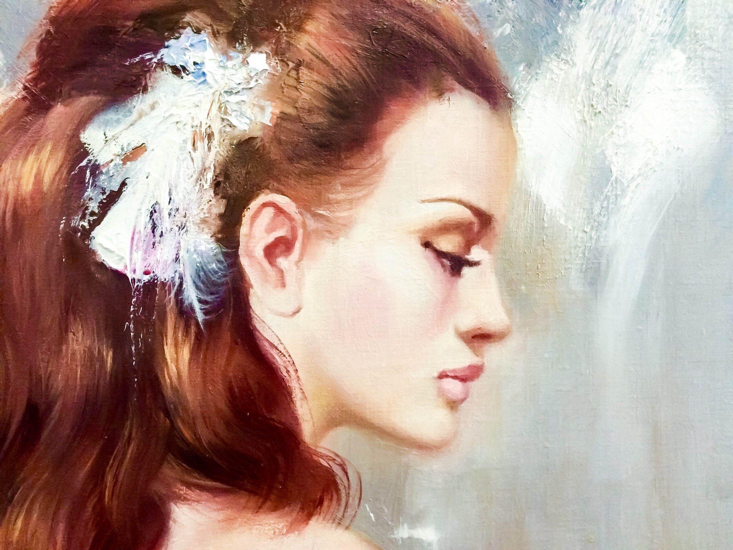 Девушка в платье картины художников