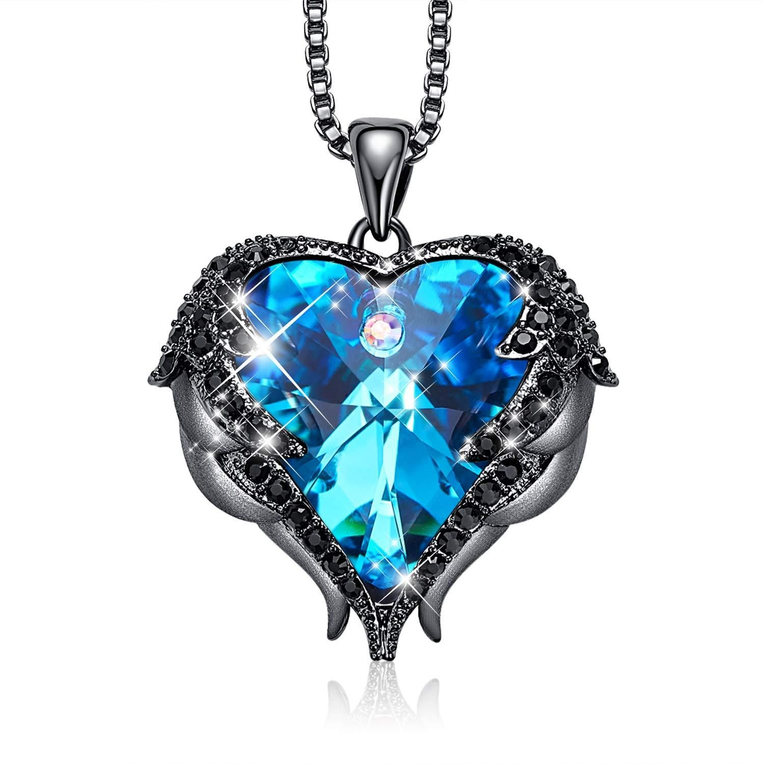 Dark Blue Heart And Wing Necklace