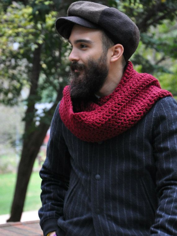 Chunky Infinity Scarf Mens Knit Scarf Men Infinity Scarf Wool ...