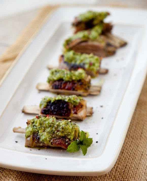 Slow Roasted Lamb Ribs with Jalapeno Mint Sauce