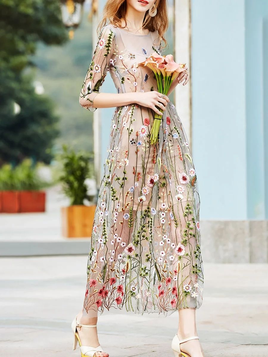Apricot sleeve vintage embroidered maxi dress clothing and