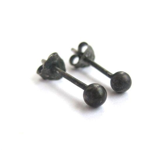 cool unisex ear studs designer ear studs silver ear studs oxidized ear studs small mens ear studs black ear studs
