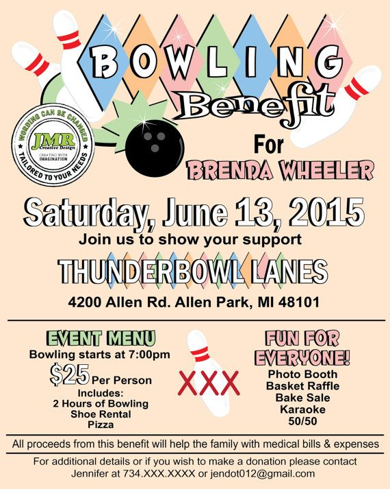 Bowling Benefit Flyer, Cancer Flyer Designs, Custom Flyer Design