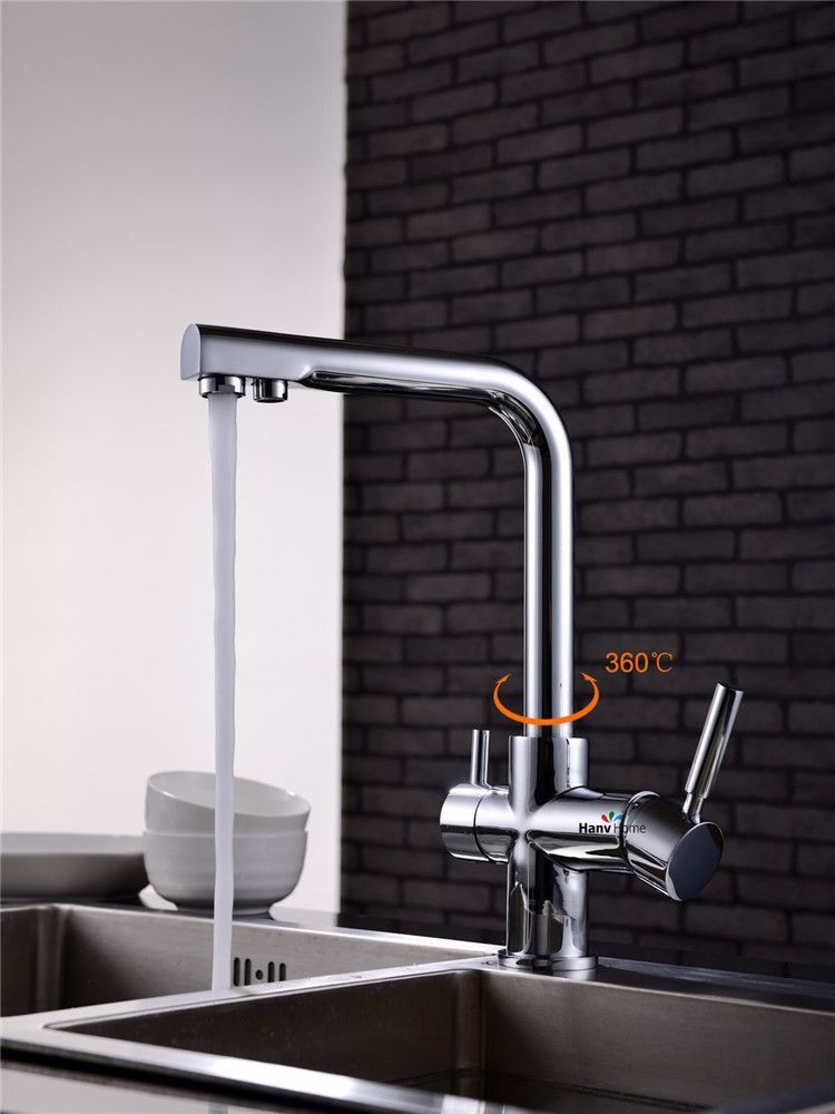 Polished Chrome Kitchen Sink Faucet With Drinking Water Tap